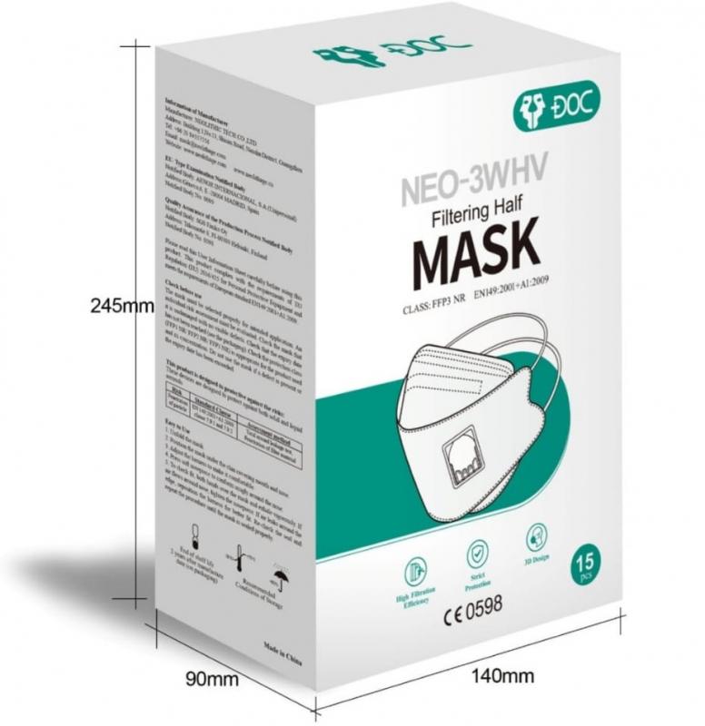 FFP3-Masken mit Ventil DOC NEO-3WHV - 15er Box